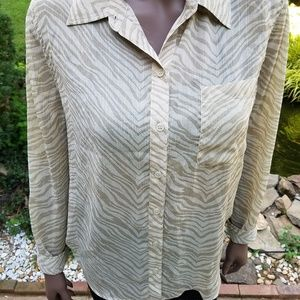 CHICO'S WOMEN'S  BLOUSE SHIRT TOP   SIZE 2  LARGE